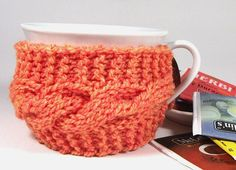 KNITTING PATTERN Cozy Cup Coffee Knit Mug Cozy by LiliaCraftParty