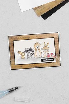 Eine Geburtstagskarte mit Waldtieren, welche sowohl mit dem Stempelset We must Celebrate als auch mit dem Designerpapier Holzdekor von Stampin' Up! gebastelt und koloriert wurde.