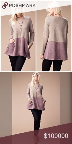 Arriving Friday! Beautiful and warm! Tunic 💋 In taupe and mauve A heavy knit fabric with side pockets. Long sleeve and round neckline.- so adorable! Sweaters