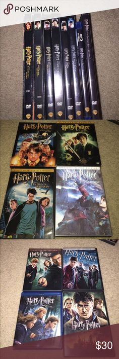 Complete Harry Potter DVD series One is a blue ray and all others are DVD. Most are the originals from when they first came out. An awesome and classic move set Other