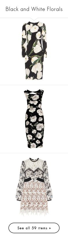 """""""Black and White Florals"""" by africagirls ❤ liked on Polyvore featuring dresses, black, wool crepe dress, dolce gabbana dress, floral dresses, botanical dress, woolen dress, slip dress, sequin bodycon dress and maxi party dresses"""