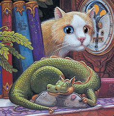 Randal Spangler saw his work at the Clear lake art festival in Iowa. Gotta get one of his originals next year. Magical Creatures, Fantasy Creatures, Fantasy Dragon, Fantasy Art, Dragon Cat, Randal, Dragon's Lair, Year Of The Dragon, Lake Art