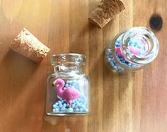 Micro flamingo in a tiny bottle - polymer clay miniature - animal jewelry