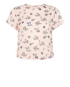 Teens Pink Bird Print Chiffon Boxy T-Shirt   New Look