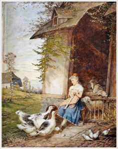 """""""Mother Goose"""" by Fritz Beinke (Germany, 1842 - 1907)"""