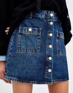 Denim mini skirt - Skirts - Clothing - Woman - PULL&BEAR United Kingdom