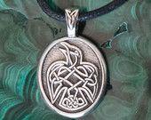 "Celtic Raven Pendant Necklace - ""Speak your truth"" - Celtic Knot Raven Peter Pendant on Black Cord"