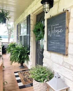 """**ORIGINAL DESIGN** Every Family has a story"""" / Farmhouse Style / Rustic / Home Decor / Hand painted / Wood sign / Gifts / Entry way - rustic farmhouse front door Farmhouse Front Porches, Rustic Farmhouse, Farmhouse Outdoor Decor, Farmhouse Landscaping, Farmhouse Style Homes, Front Entry Landscaping, Outdoor Entryway Decor, Rustic Porches, Modern Front Porches"""
