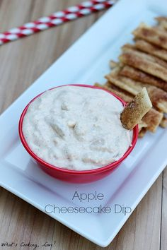This Apple Cheesecake Dip served with Nilla Wafers is perfect for fall. This is a great dip for watching football or for any party.