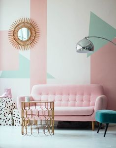 Throw it back with this gorgeous retro geometric pink + mint combo.