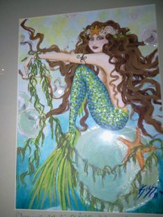 Mermaid art original painting   Free Ride by KatherineKiss on Etsy, $225.00