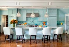Same turquoise/aqua kitchen, different view. Love the cabinetry + backsplash and so much more. House of Turquoise.