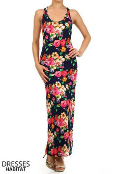 Floral Blossom Maxi Dress - $37.40 at DressesHabitat.com - #DressesHabitat #FashionHabitat