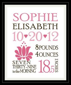 Cute gift idea. FREE download to print and frame  your own birth announcement. Nursery artwork :)