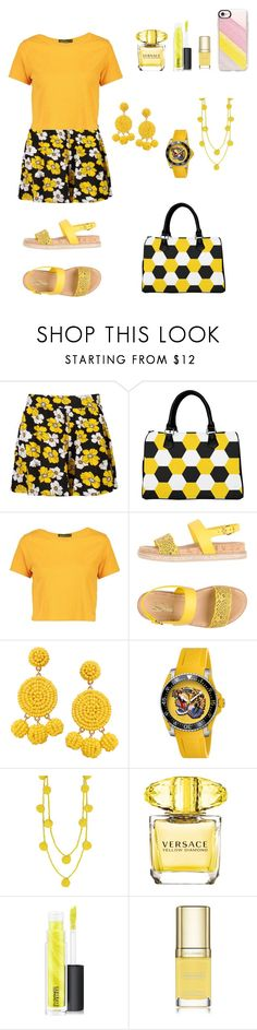 """Yellow"" by bonkivybon ❤ liked on Polyvore featuring Boohoo, Salvatore Ferragamo, Humble Chic, Gucci, Versace, MAC Cosmetics, Dolce&Gabbana and Casetify"