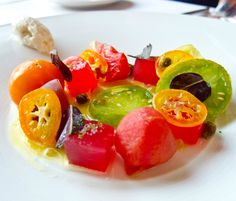 The heirloom tomato dish (part 2) from Bero restaurant (Leslieville, Toronto).  So vibrant to the eye and to the tongue!