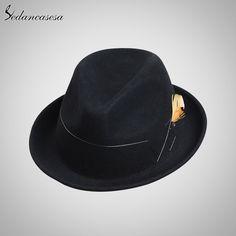 Fashion Design Feather Mens Wool Felt Hat Wholesale High Quality Black Khaki Hats Check it out! #shop #beauty #Woman's fashion #Products #Hat
