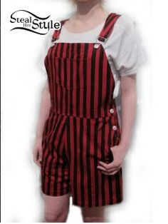 This outfit would be for Tweedel Dee and Tweedle Dum.  I chose this outfit because they like to wear matching clothes, and I thought that they would look cute in the red and black striped overalls.  Another reason why I chose the red and black striped overalls is because when I was watching the movies and the play, I thought that like to wear overalls.