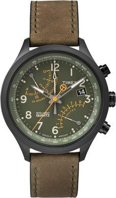 Zegarek Timex T2P381, styl retro, zielona tarcza, skórzany pasek