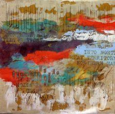 """Storm Warning"" 12"" x 12"" Encaustic by Elaine Brady Smith. Includes encaustic paint and medium, oil paint, vintage transfer image. http://www.elainebradysmith.com/"