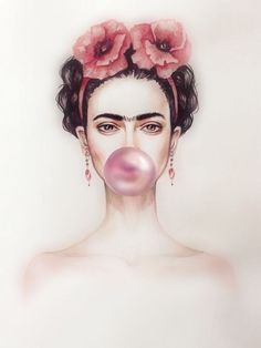 Find great deals for Frida Kahlo Bubble Gum Art Imagen Cartel impresión Laminad. Pop Art, Kahlo Paintings, Frida Art, Frida Kahlo Artwork, Foto Poster, Trendy Wallpaper, Bubble Gum, Art Images, Art Inspo