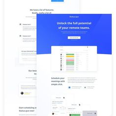 Hey guys Long time no see! In @topmonks We work hard on many things. We develop solutions for FinTech companies We help startups with investments and We also create our own products. . Here's first iteration of landing page I made for upcoming internal project in TopMonks. The product is called 'Status.quo' and it will help you to schedule meetings with your remote teams. . I hope it will be out there soon. Fingers crossed  . . . . . . #designinspiration #designselection #webdesigner… Dashboard Ui, Ui Ux, Daily Ui, Status Quo, Crossed Fingers, User Interface Design, Ui Design, Work Hard, Investing