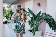 Gal Meets Glam Pink & Palm Print -Show Me Your Mumu dress, Illesteva sunglasses & Preston & Olivia hat