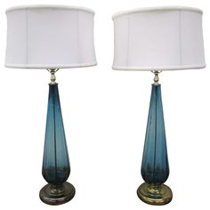 Stunning Pair of Turquoise Blenko Style Murano Glass Lamps Mid-Century Modern   From a unique collection of antique and modern table lamps at https://www.1stdibs.com/furniture/lighting/table-lamps/