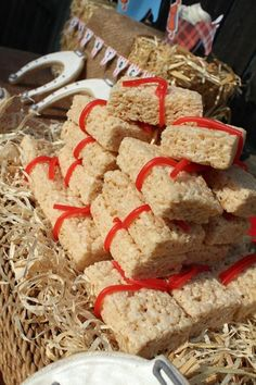 Bales of hay Rice Krispie Treats at a farm barnyard saratoga race track party.