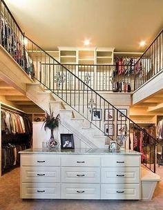 My dream 2 story closet by california closets Traditional Closet Design Master Closet, Closet Bedroom, Huge Closet, Closet Space, Master Bedroom, Double Closet, Wardrobe Room, Loft Closet, Upstairs Bedroom