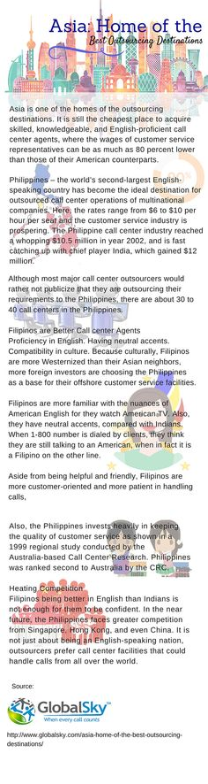 Asia - Home of the Best Outsourcing Destinations Call Support, Flexibility, Philippines, Attitude, Destinations, Asia, English, Good Things, Country
