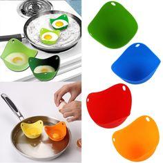 New 2Pcs Silicone Nontoxic Egg Poacher Tray Fried Cooker Boiler Kitchen Tool  P50