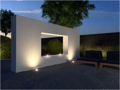 Platoflex wall with Inlite spots. Pergola, Beton Design, Chill, Modern Landscaping, Small Gardens, Garden Paths, Lighting Design, Garden Design, Backyard