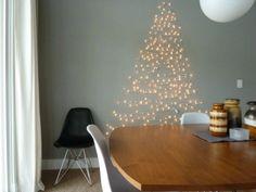 Weihnachtsbaum Alternative als Wanddeko aus Lichterkette