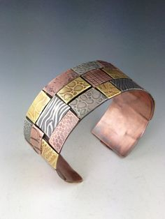 Wide Mixed Metal Patchwork Cuff Bracelet by MicheleGradyDesigns www.michelegrady.com