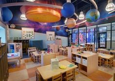 Children's Learning Adventure® provides the best in day care, child care, infant care and early childhood education for families throughout the United States. Childcare Rooms, Daycare Rooms, Home Daycare, Daycare Ideas, Preschool Room Layout, Preschool Rooms, Classroom Ceiling Decorations, Daycare Design, After School Care