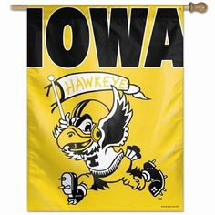 Wincraft, Inc. Collegiate Banner / Vertical Flag - Iowa Hawkeyes ''Vintage Yellow''- for Sawyer's room!