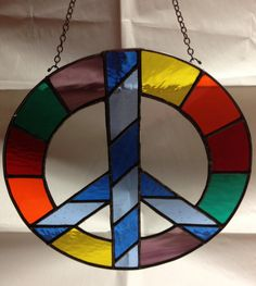 Stained Glass Peace Sign Colorful Suncatcher by PeaceLuvGlass, $38.00