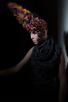 Avant garde colourful finger waves by Carley Throgmorton