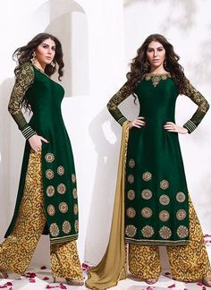 Buy Superb Raw Silk Green Embroidered Work Designer Palazzo Salwar Suit, Online  #salwarkameez #palazzo #pakistanisuits
