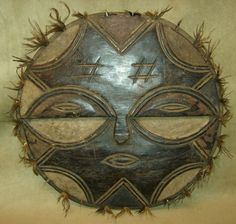 TEKE TRIBAL MASK Round Feathers Carved Wood African Art Collectibles