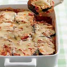 Make-Ahead Eggplant Parmigiana (Terri's Notes - I've made this a ton of times - DELISH!!  And a bit more healthy than breaded/fried traditional eggplant parm.  This pic doesn't do it justice - it looks better!!  I have used jarred marinara, my own homemade marinara, jarred spaghetti sauce & also my homemade Italian gravy - they all work well.  Also, after I bake it, I take the foil off & leave it under the broiler for a few minutes so the cheese on top gets browned & bubbly)