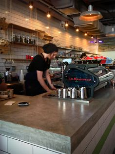 Concrete bench top. tomandserg-coffee maker. A Melbourne cafe in Dubai.