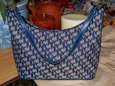 New York & Co Navy Blue & Taupe Shoulder Handbag Medium Sized Logo Purse #NewYorkCo #ShoulderBag