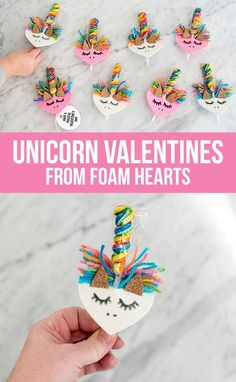 DIY Unicorn Valentines from Foam Hearts DIY Valentine's Day Ideas for handmade Valentine cards, treats, decorations and everything Valentine's Day. valentine id Valentines Bricolage, Kinder Valentines, Valentine Gifts For Kids, Valentine Day Boxes, Valentine Treats, Valentines Day Party, Valentine Day Crafts, Unicorn Valentine Cards, Diy Valentines Cards