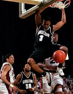 Allen Iverson throws down the two hand slam against UMass during the NCAA tournament.