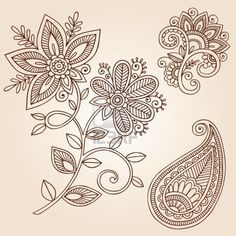 Henna Mehndi Flower Doodles Abstract Floral Paisley Design Elements Illustration Stock Photo - 12035453