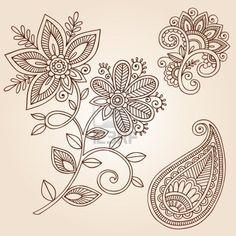 Henna Mehndi Flower Doodles Abstract Floral Paisley Design Elements Illustration Stock Photo - 12035453