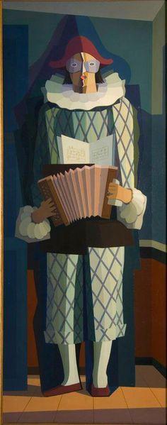 """El indeciso"" ""Indecisive"" By Emilio Pettoruti, from La Plata, Province of Buenos Aires, Argentina - - oil on canvas, 180 x 70 cm Image Fruit, Image Halloween, Pop Art, Modern Art, Contemporary Art, Image Nature Fleurs, Cubist Art, Pierrot, Georges Braque"