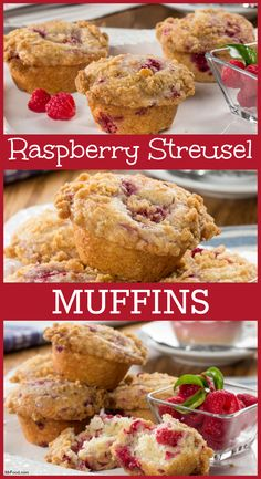 These homemade raspberry muffins have a great great crumbly streusel topping!